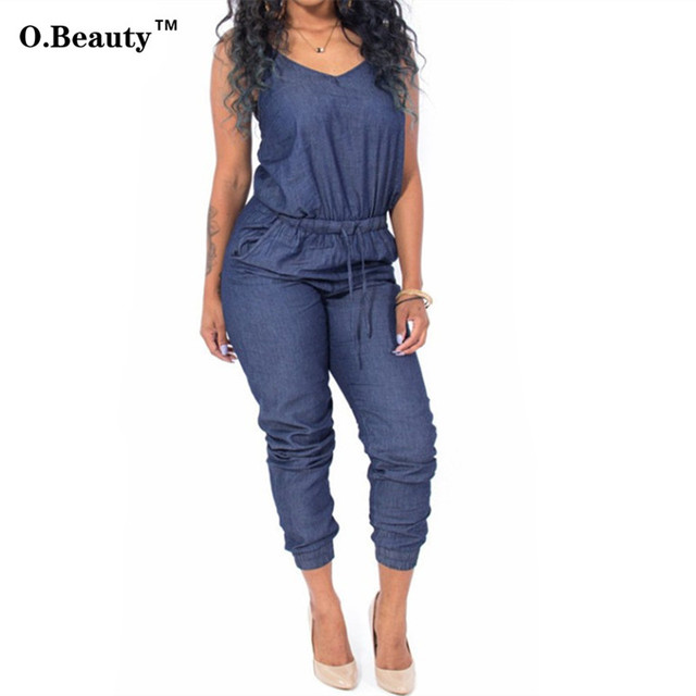2016 Rompers Womens Jumpsuit Denim Bodysuit Summer Style Overalls Sexy Club Party Long Bodycon Bodysuit  Clubewear Playsuit