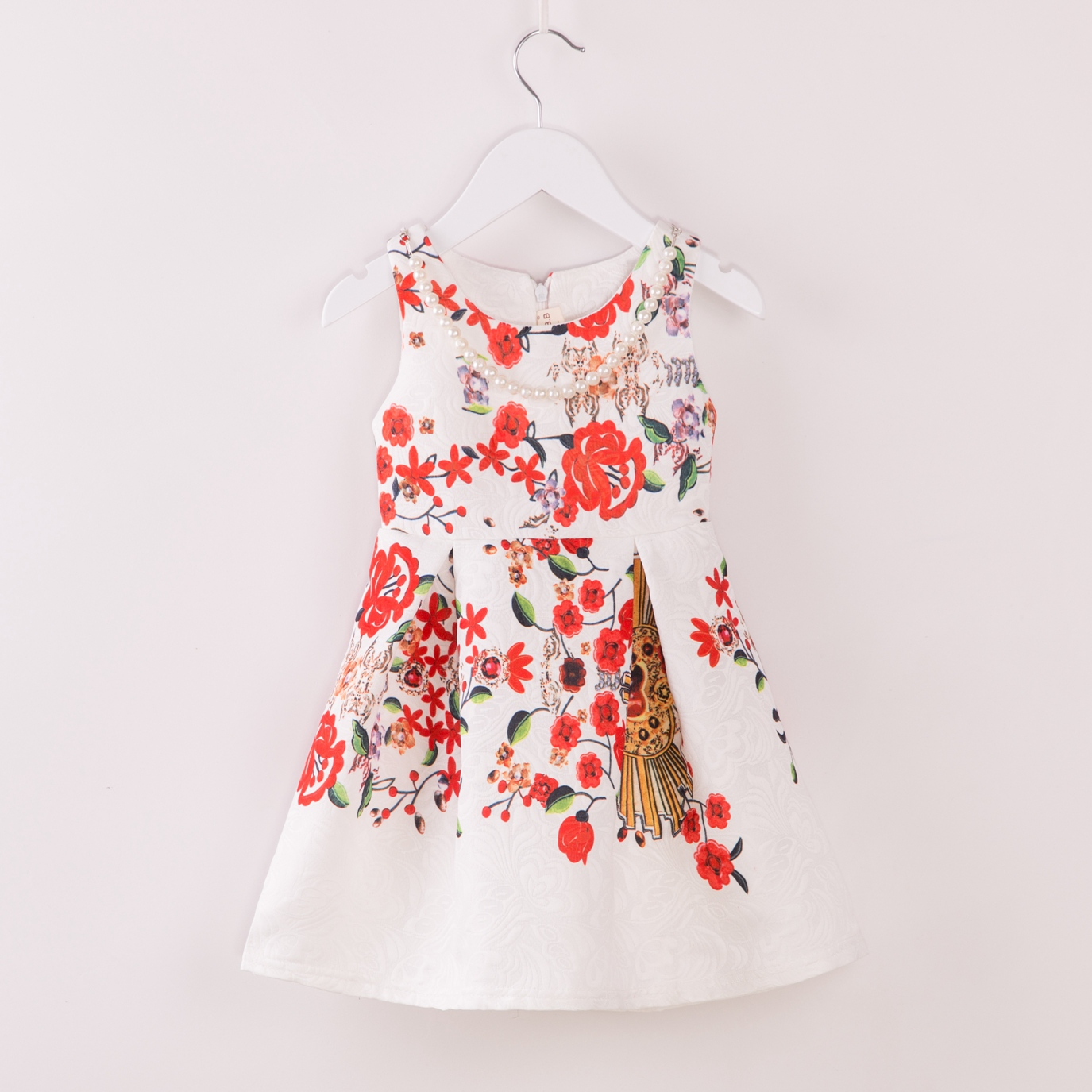 toddler children girls clothing floral vintage dress kids white red summer sleeveless beautiful baby clothes vestidos princess in dresses from mother kids