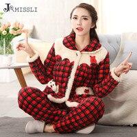 JRMISSLI Women Winter Pajama Set Thickening Red Plaid Flannel Pyjamas Ladies Long Sleeve Sleepwear Women Clothing