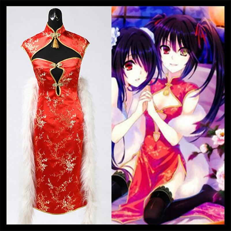 Japan Anime Date A Live Tokisaki Kurumi Lolita Cosplay Costume Cheongsam Dress