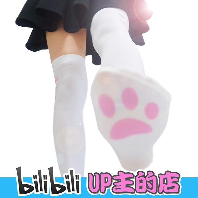 Nowa Gra wysokiej jakości Lolita kot pazur pończochy 120D Knee socks Drukowane aksamitna Lycra