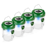 4 Pcs Wasp Trap Catcher LED Trappola Fly Catcher Life Outdoor Solar Powered Trap With Ultraviolet Insect Killer Lamp 30MY02