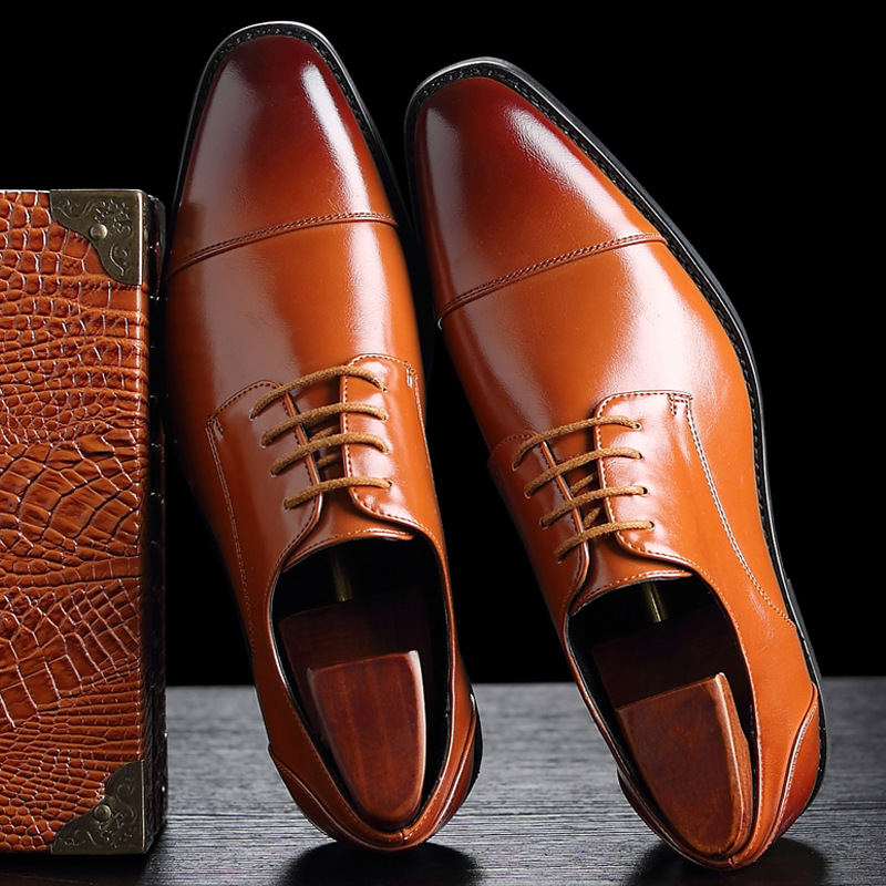 2018 zapatos formales de cuero para hombres, zapatos casuales de negocios, zapatos de lujo de oficina de alta calidad para hombres, zapatos Oxford transpirables para hombres