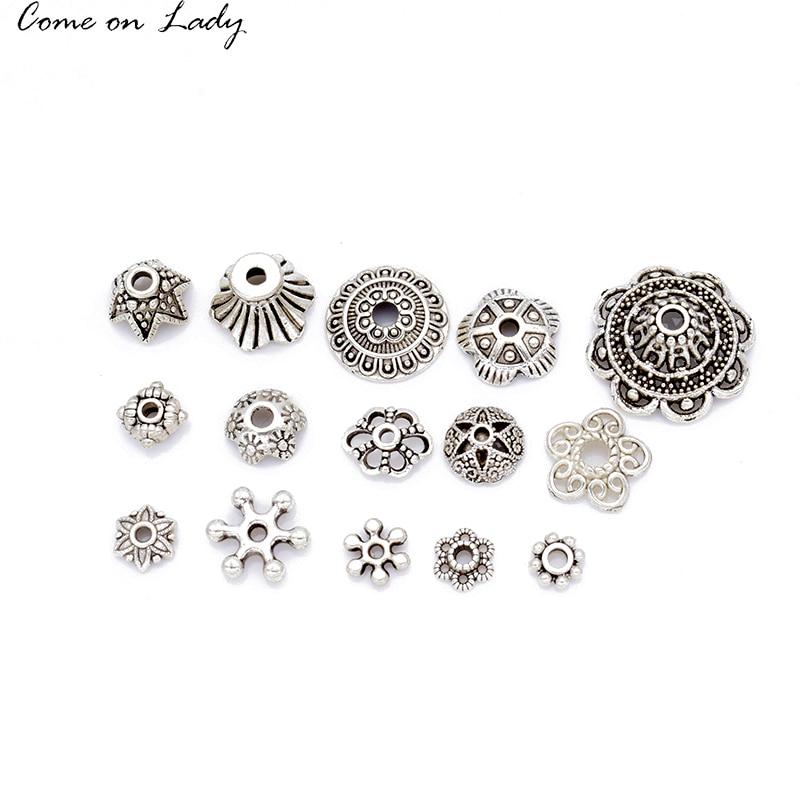 Wholesale 50Pcs 15 Shape Metal Tibetan Silver beads