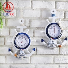 LUCKK Mediterranean Retro Nautical Wall Hanging Clock Home Office Decor Wood Crafts Creative Room Handmade Ornaments Souvenirs