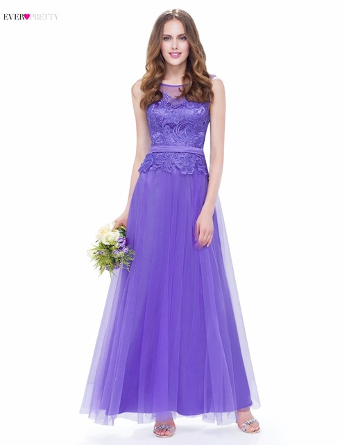 Evening Party Dress 2017 Ever Pretty EP08895PW New Arrival Women A Line Tulle Fashion Elegant O-Neck Sleeveless Long Dress