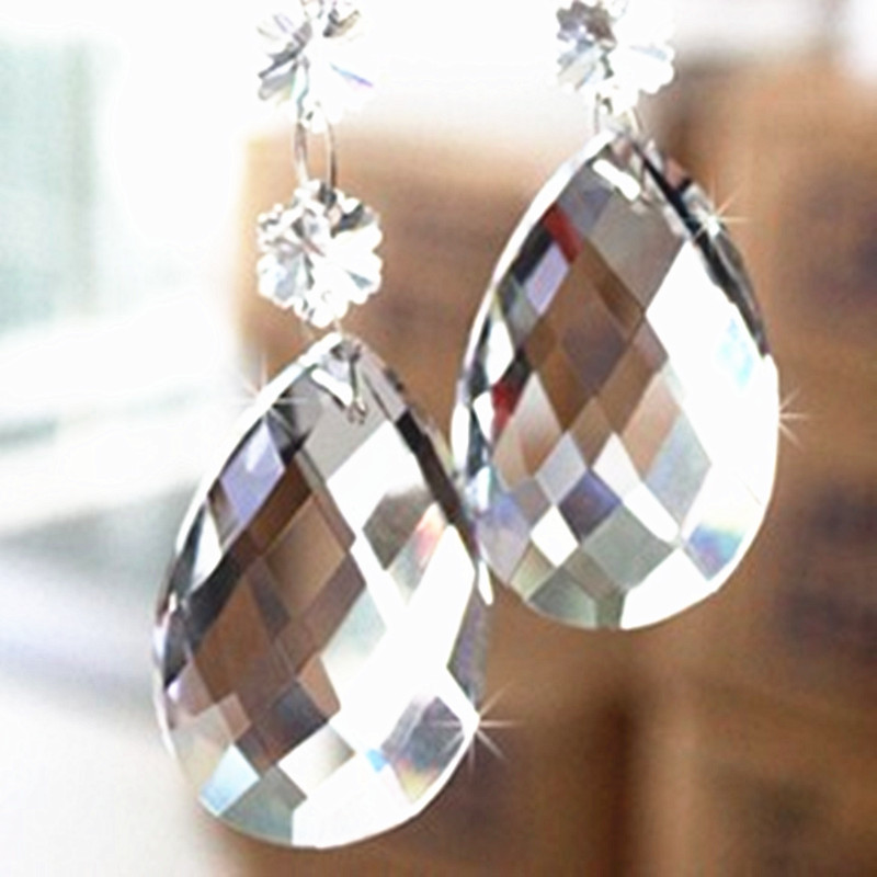 3pcs High Quality Clear 38*22mm Crystal Faceted Chandelier Prisms Glass Suncatcher For Out Door Christmas Tree Haning Decoration