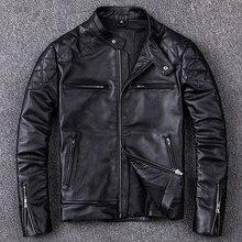 Chaqueta de cuero genuino para hombre, abrigo de talla grande, negro, Delgado, de piel de vaca, nuevo estilo, envío gratis