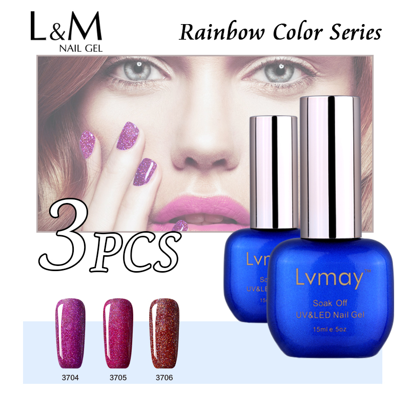 3 Pcs Fast Shipping Lvmay Rainbow Gel Nail Color Gel Polish Kit Lovely Shinning Nice Colours Soak Off 15ml Nail Primer Led Uv