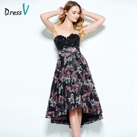 Dressv multi color A line cocktail dress sweetheart appliques sequins printing asymmertry 2017 cocktail dress homecoming dress