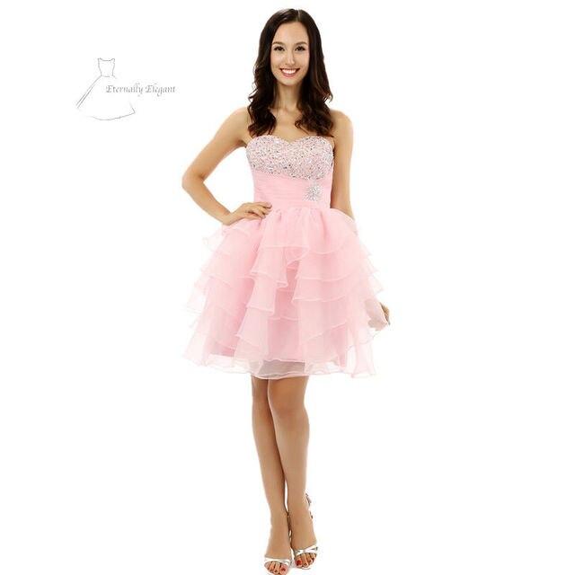 Blass rosa Ballkleid Mini Length Puffy Organza Prom Kleider Party ...