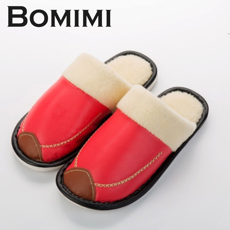 BOMIMI Women Pu Slippers Anti-Slip Fur Slippers Comfortable Shoes woman Spring Autumn Cotton Plush Slippers 201818 woman slippers tab