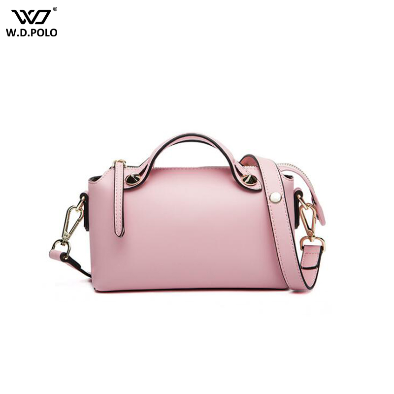 WDPOLO New Women Split Leather Handbags Fashion Rivet Pillow Design Ladies Shoulder Bag Chic Bags For Female Tote C600 chic mid waist button design ripped denim shorts for women