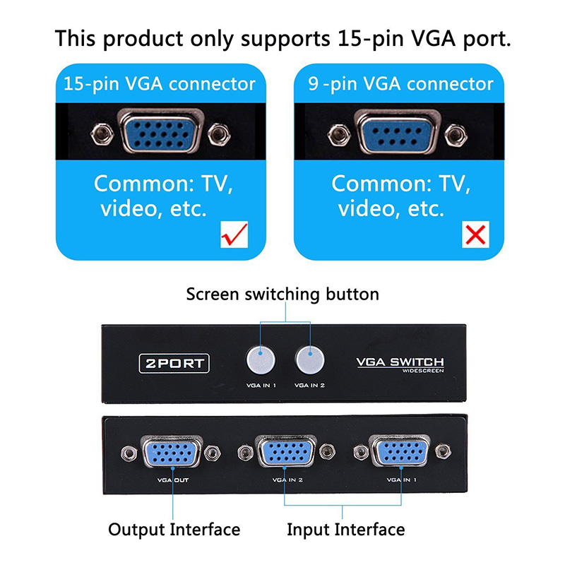15HDF 2 Port 2 IN 1 OUT Switcher Selector Box Two Way VGA Video Switch for PC Laptop Desktop Monitor TV SGA998 in VGA Cables from Consumer Electronics
