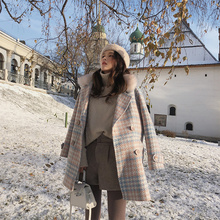 Autumn Winter Woolen Coat Women Outerwear Warm Blends Female Elegant Double Breasted