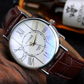 YAZOLE Brand 312 Mens Dazzle Blue Mirror PU Leather Band Quartz Watch Slim Roman Number Casual Business Wristwatches 2016 New