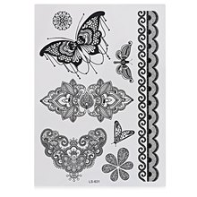 Hot Sale New Black Fake Tattoo Sticker Temporary Waterproof Cool  Flower Lace Metal Pattern Inspired For Body Art Beauty