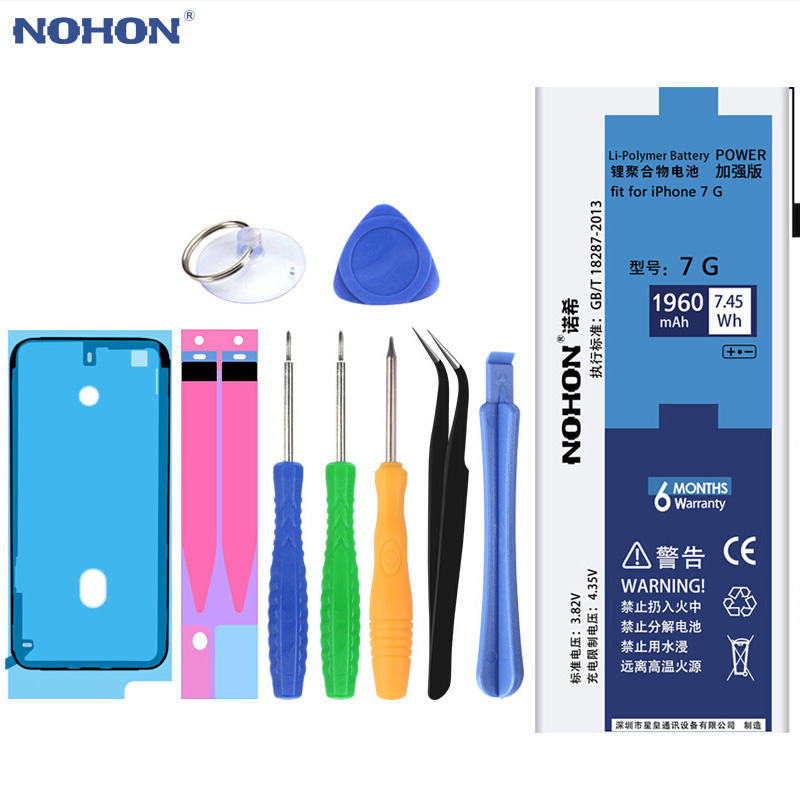 NOHON Battery For iPhone 7 7G Replacement Batteries Original Lithium Polymer Bateria 1960mAh High Capacity Free Repair Tools