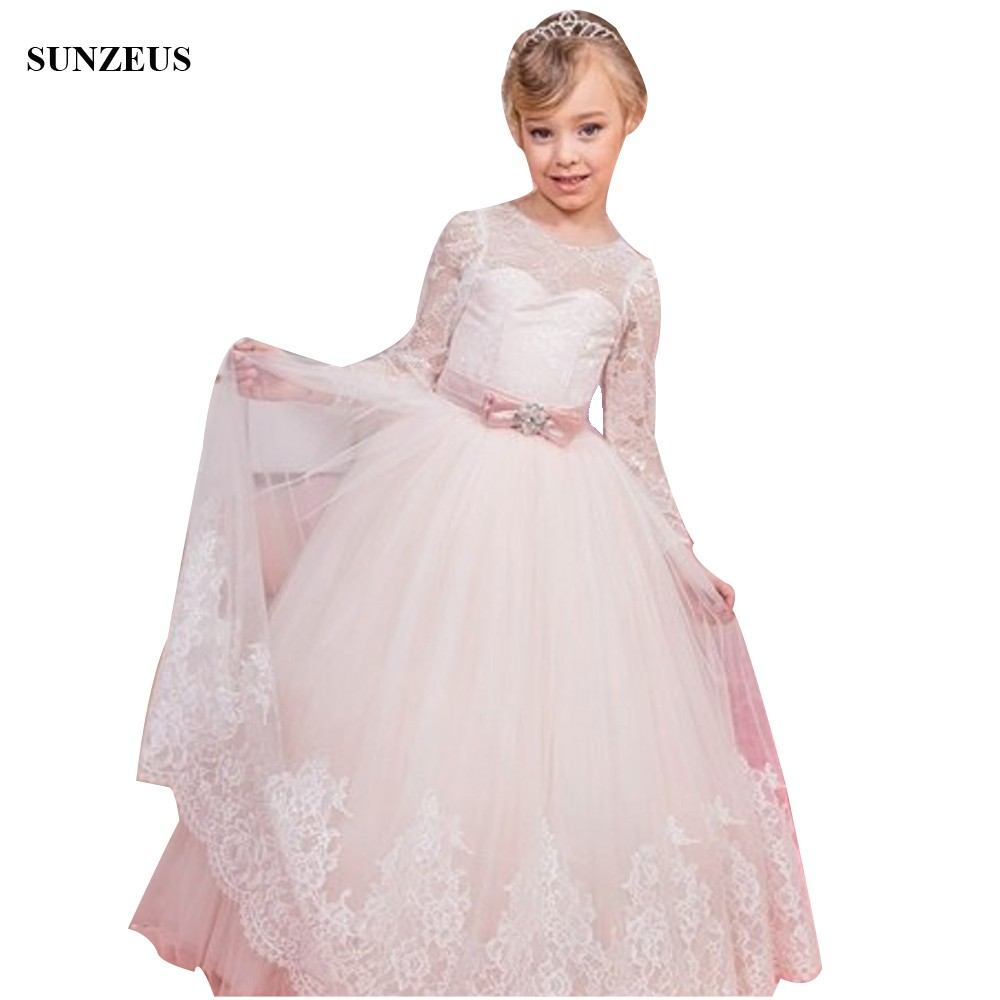 Long Sleeve Lace Flower Girl Dress Iovry Tulle Kids Wedding Party