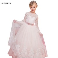 Long Sleeve Lace Flower Girl Dress Iovry Tulle Kids Wedding Party Gowns With Pink Bow Sash China Online Store FLG095