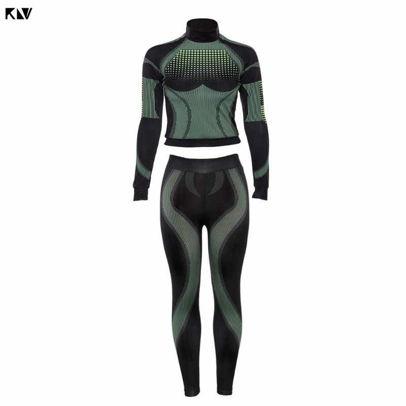 Women Printing Tracksuit Futuristic Skinny Long Sleeve Turtleneck T-shirt and Skinny Leggings