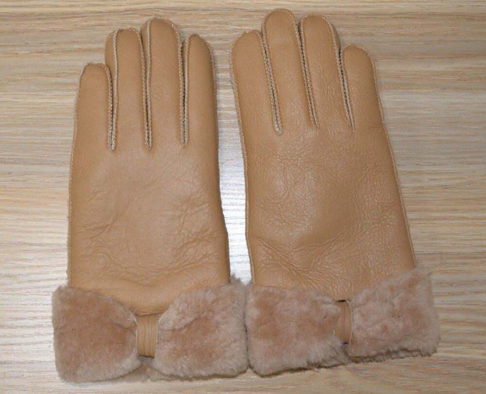 Womens Beige Leather Gloves - New winter women leather gloves sheepskin ladies warm gloves mittens thicken hand warmer china