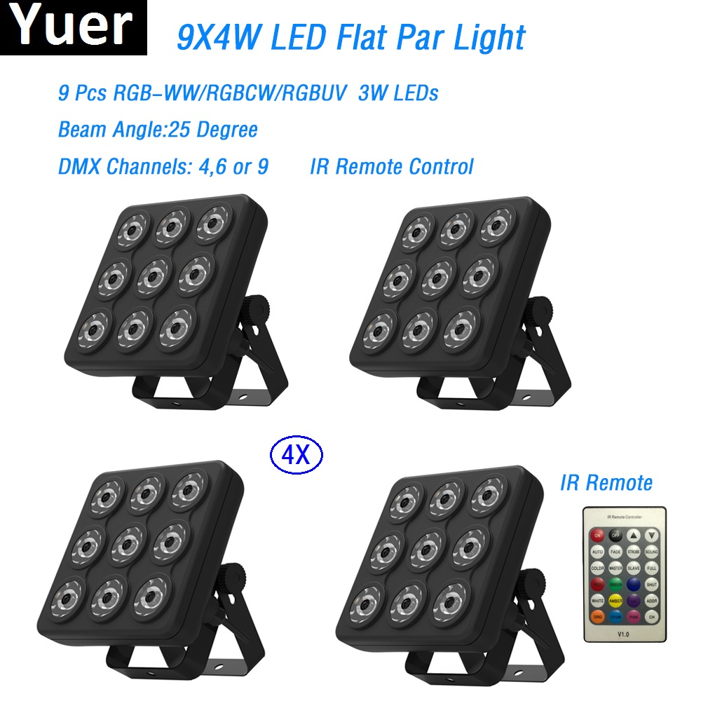4Pcs/Lot Led Show Panel Flat Par Light 9X4W RGBWW/RGBCW DMX512 Stage Effect Lights Business For Party Wedding DJ Disco Lights