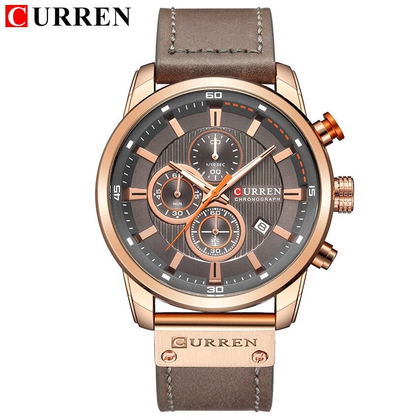 Watches Men Luxury Brand CURREN Chronograph Men Sports Watches Leather Quartz Wristwatch Relogio Masculin Clock Army Military title=