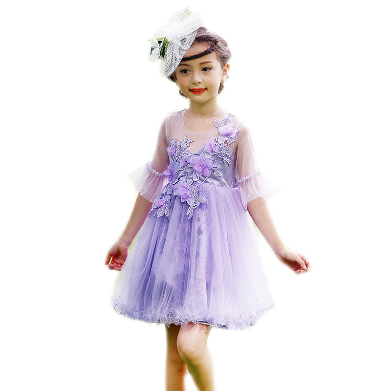 2017girl summer dress new short sleeve kids dresses for girls embroidery flower girls princess dress purple kids wedding costume girls short in front long in back purple flower girl dress summer 2017 girl formal dress kids party princess custume skd014283