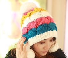 Корен моды осень зима сладкие женская вязаная шапка 100% РУЧНОЙ шерсть вязаная шапка