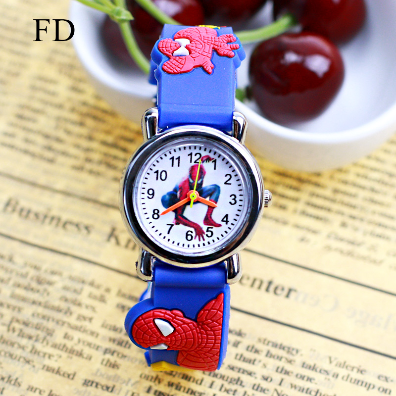 FD Spiderman Mønster 3D Gummi Strap Barn Se Mote Kids Quart Mote Klokke For Gutter Studenter 2018 Cartoon Sports Clock