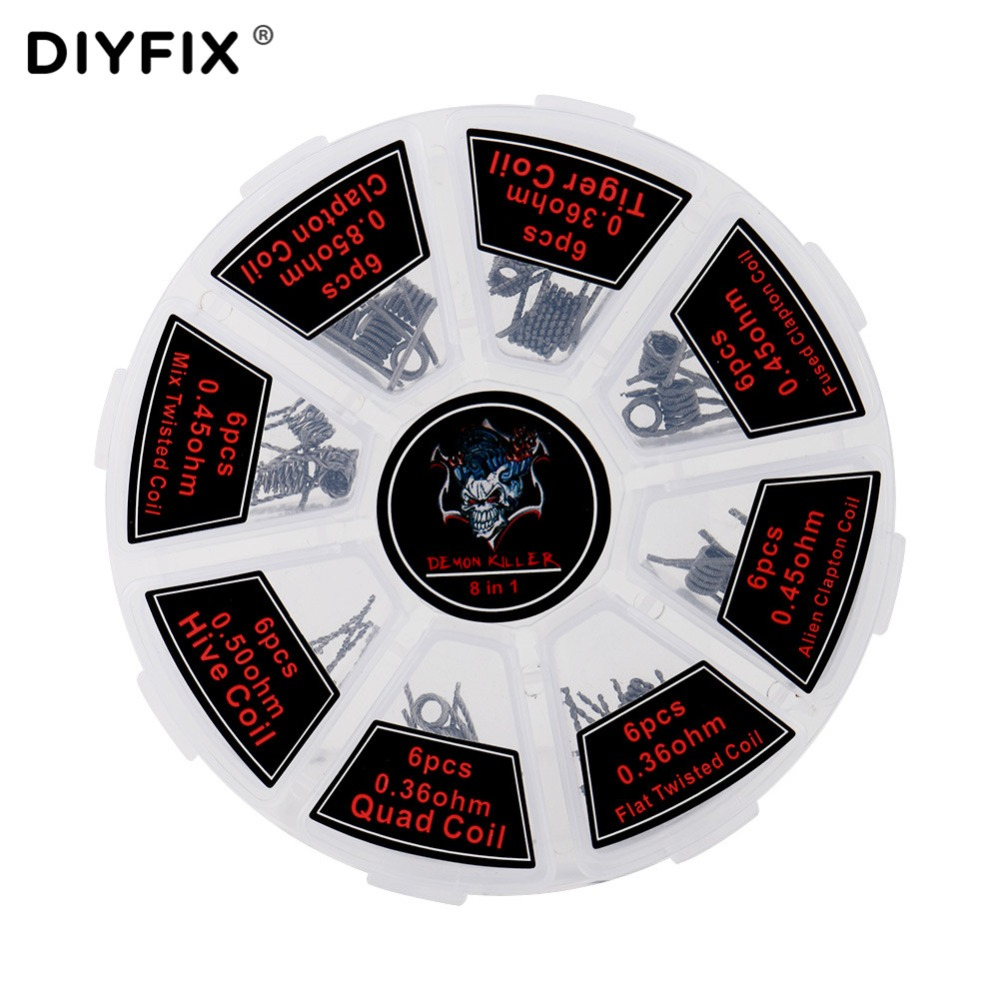 DIYFIX 8 in 1 Prebuilt Coils Premade Coil Heating Coil Wire DIY Tool with Box for Electronic Cigarette RDA RTA RBA RDTA AtomizerDIYFIX 8 in 1 Prebuilt Coils Premade Coil Heating Coil Wire DIY Tool with Box for Electronic Cigarette RDA RTA RBA RDTA Atomizer