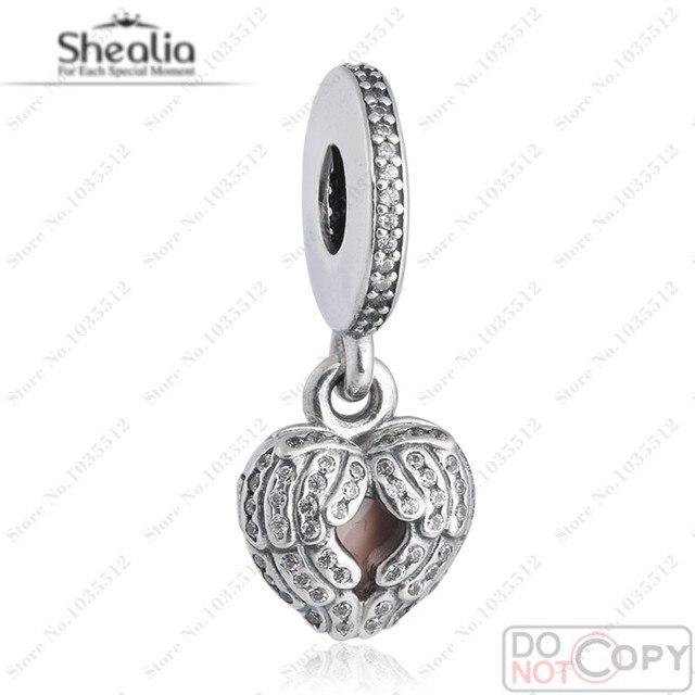 Fit European Bracelet Angel wings locket dangle With Micro CZ & Pink Enamel 925 Sterling Silver Jewelry 2016 Charm Pendant DG165