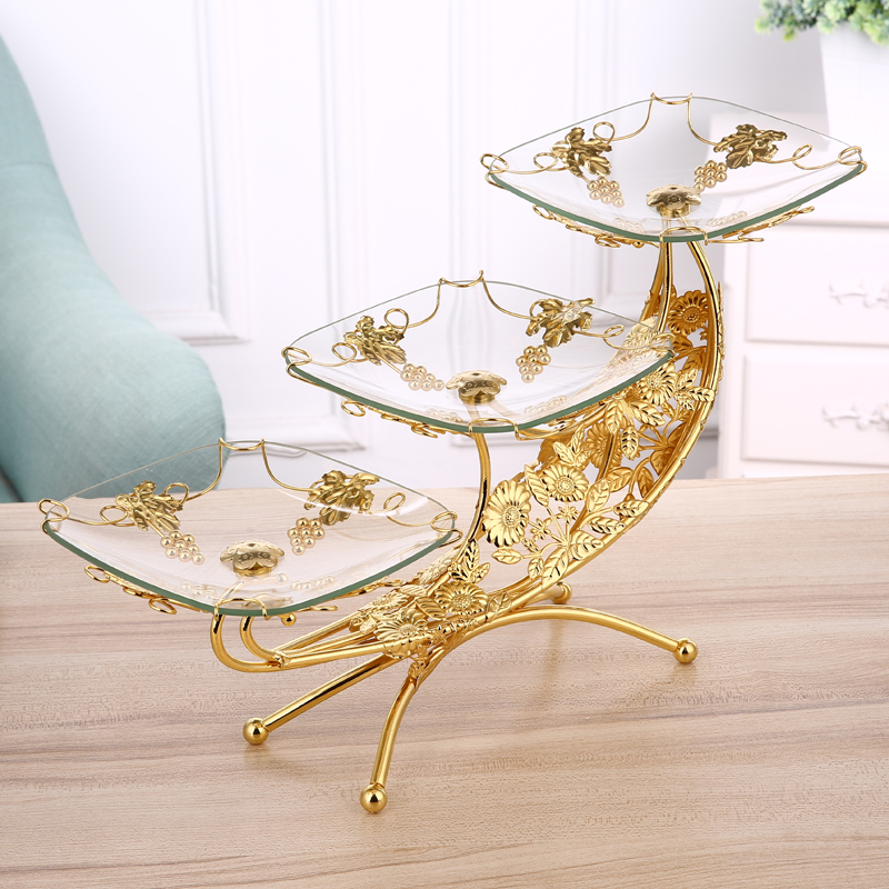 European luxury home multi layer fruit plate ktv double layer glass fruit plate creative three layer