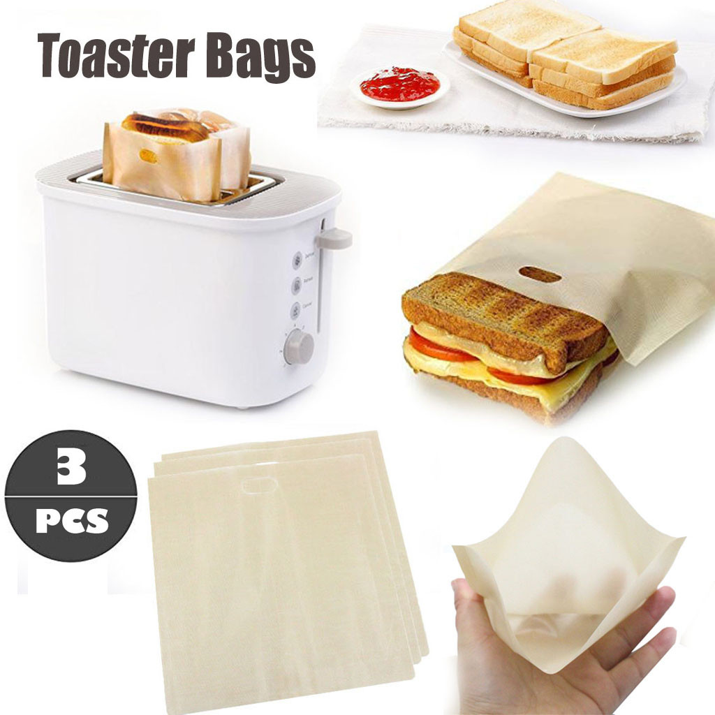 3pcs Toaster Bags for Grilled Cheese Sandwiches Made Easy Reusable Non-stick Baked Toast Bread Bags #K21 image