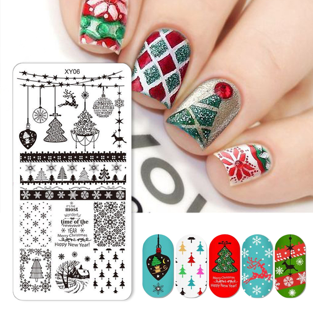 1PCS Christmas Square Nail Stamping Templates Stainless Steel 12x6cm Winter Elk Image Transfer Nail Art Stamp Plates SAXY01-08