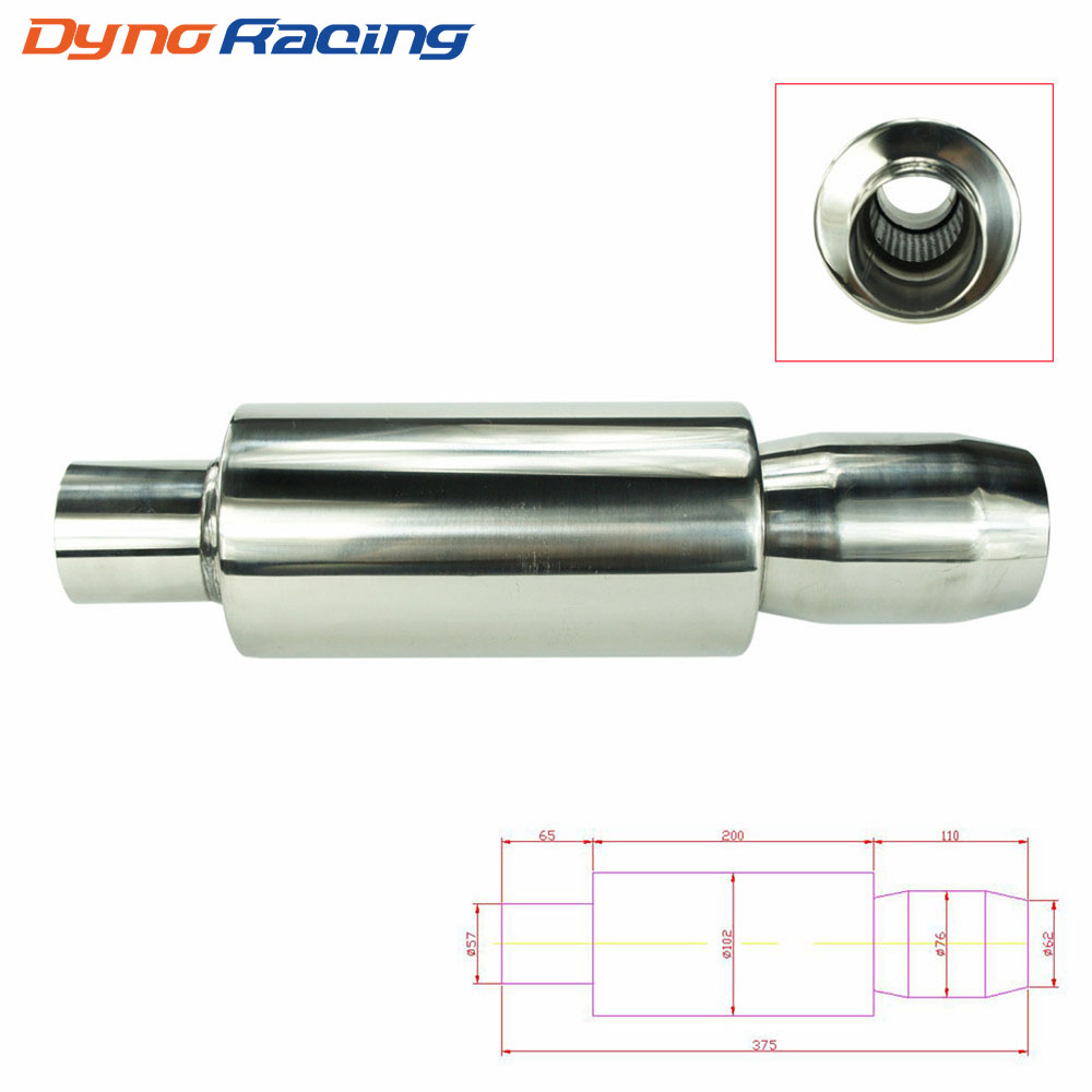 Universal 2.25'' Inch 57mm Car Stainless Chrome Exhaust Muffler Silencer