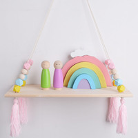 Nordic children's room wall decoration solid wood single layer with fringed partition wood beads hemp rope decoration creative r
