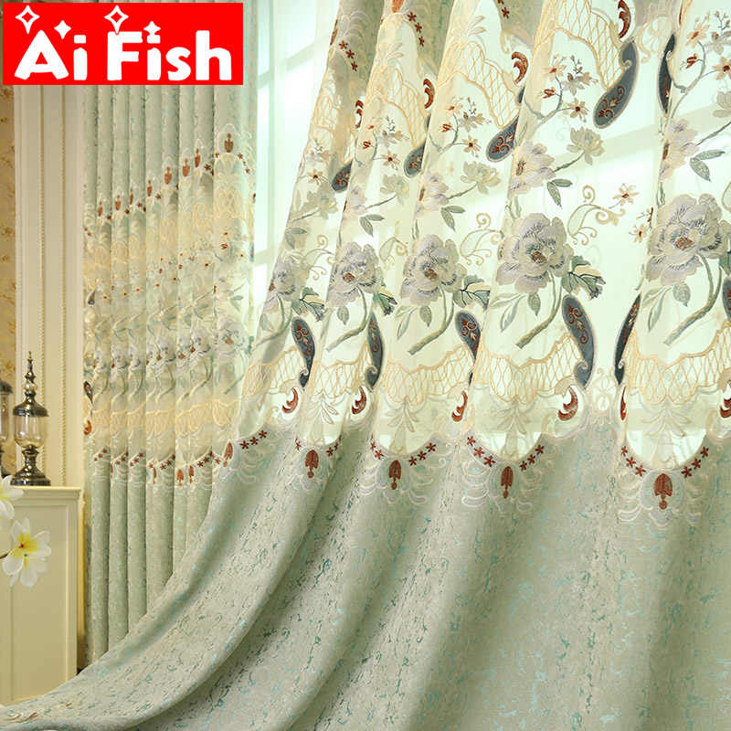 Embroidered Luxury European Style Curtains for Living Room Green Blackout Curtain Fabric and Sheer Curtains for Bedroom M013-40
