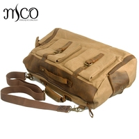 Men Duffel Bag Leather Canvas Vintage Military Luggage Travel Bag Male Shoulder Carry On Luggage Weekend