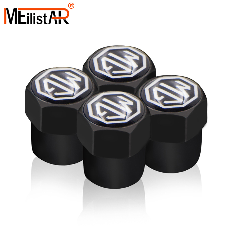 4pcs Car Styling Black Stainless Steel Car Wheel Tire Valve Cap Cover Air Cap Case For MorrisGarages MG 3 6 GS GT HS Accessories