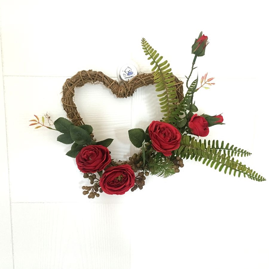 34x30cm Artificial Silk Rose Flowers Heart Shaped Door Wreaths Wedding Christmas Party Car Decoration In Dried From Home
