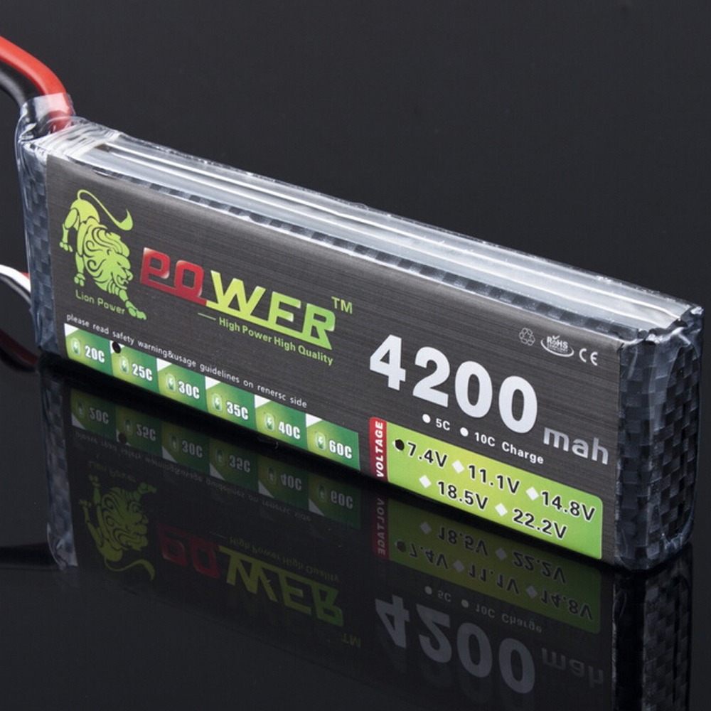 1pcs Lion power High Capacity Li-Po Battery 74V 4200mAh 25C lipo battery 2s Lithium-Polymer Rechargeable battery