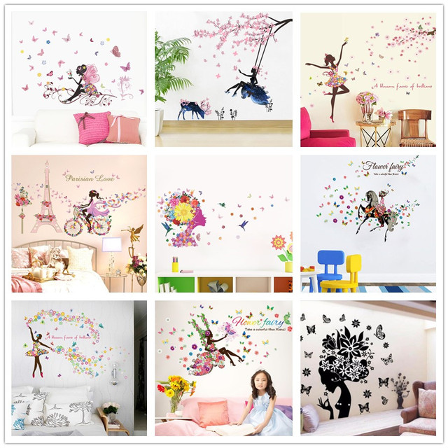 Diy Romantic Flower Fairy Swing Butterfly Wall Stickers Kids Room Wall  Decor Bedroom Living Room Girls Room Decal Poster Mural