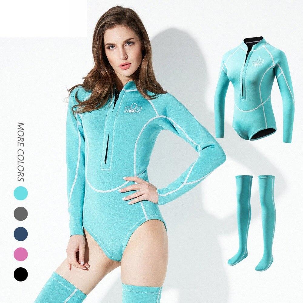 2mm femmes combinaison de plongée en néoprène Anti-UV garder au chaud femmes à manches longues combinaison de plongée avec de longues chaussettes maillots de bain combinaison de plongée