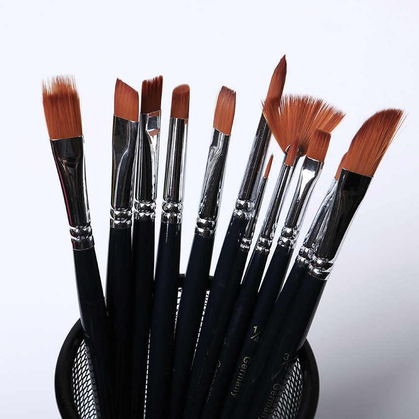 Nuevo 12 unids/set cepillo de pintura de pelo de nailon de diferentes formas pincel de acuarela de goucache pintura al óleo brocha suministros de arte