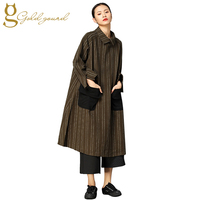 Pockets Decoration Striped Shirt Dress For Women Long Sleeve Spring Vintage Style Clothing