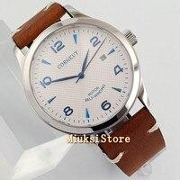 42mm corgeut mostrador branco azul marca Sapphire Vidro Automáticas mens watch bue estéril mão relógios