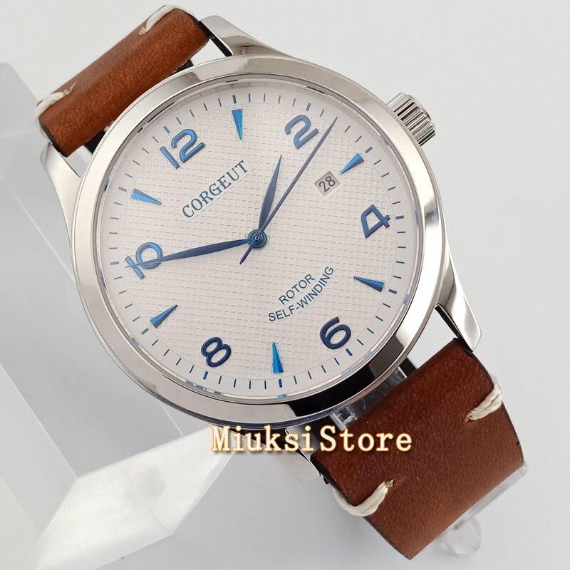 42mm corgeut weiß zifferblatt blau mark Sapphire Glas Automatische herren uhr bue hand sterile uhren-in Mechanische Uhren aus Uhren bei  Gruppe 1