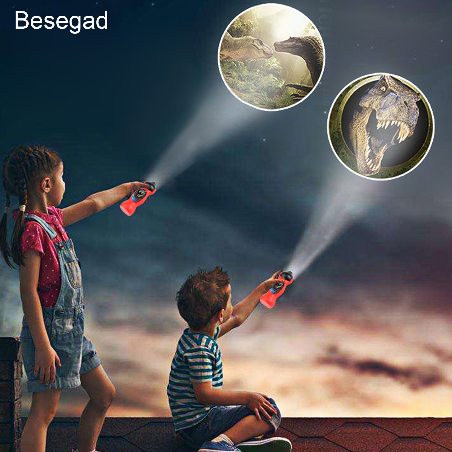 Besegad Cute Kawaii Cartoon Dinosaur Style LED Flashlight Projector Educational Toy For Kids Children Christmas Birthday Gift